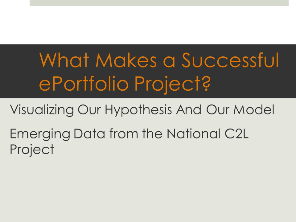 What Makes a Successful ePortfolio Project.