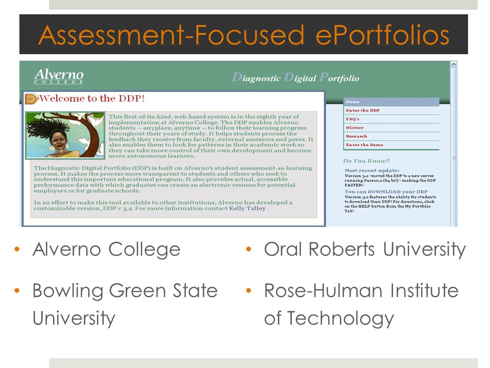 Assessment-Focused ePortfolios Alverno College Bowling Green State University Oral Roberts University Rose-Hulman Institute of Technology