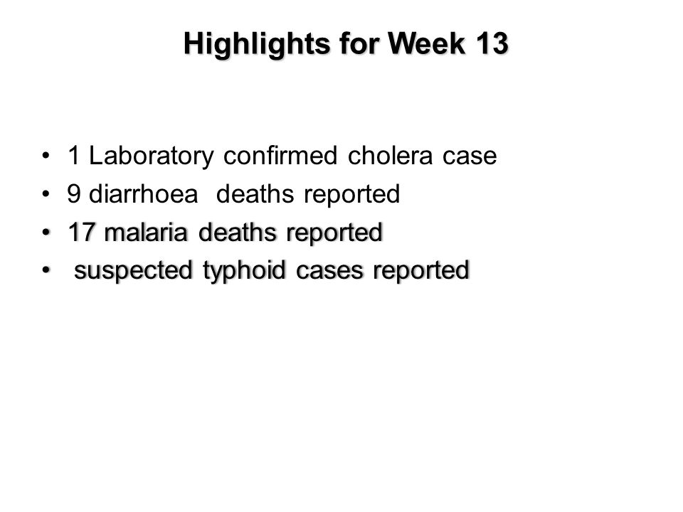 Highlights for Week 13 Highlights for Week 13 1 Laboratory confirmed cholera case 9 diarrhoea deaths reported 17 malaria deaths reported 17 malaria deaths reported suspected typhoid cases reported suspected typhoid cases reported