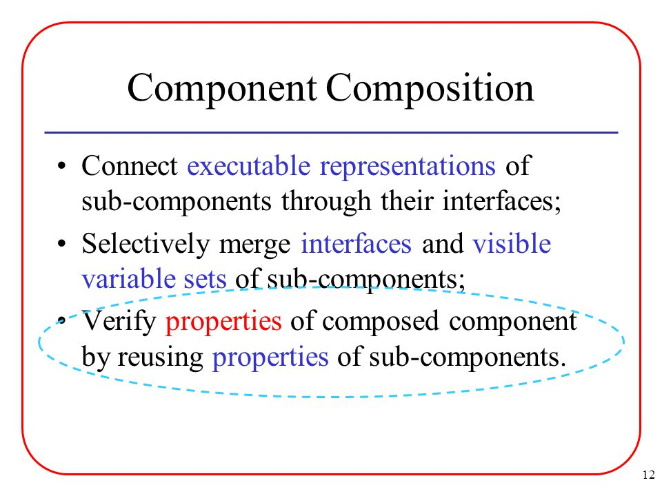 12 Component Composition Connect executable representations of sub-components through their interfaces; Selectively merge interfaces and visible variable sets of sub-components; Verify properties of composed component by reusing properties of sub-components.