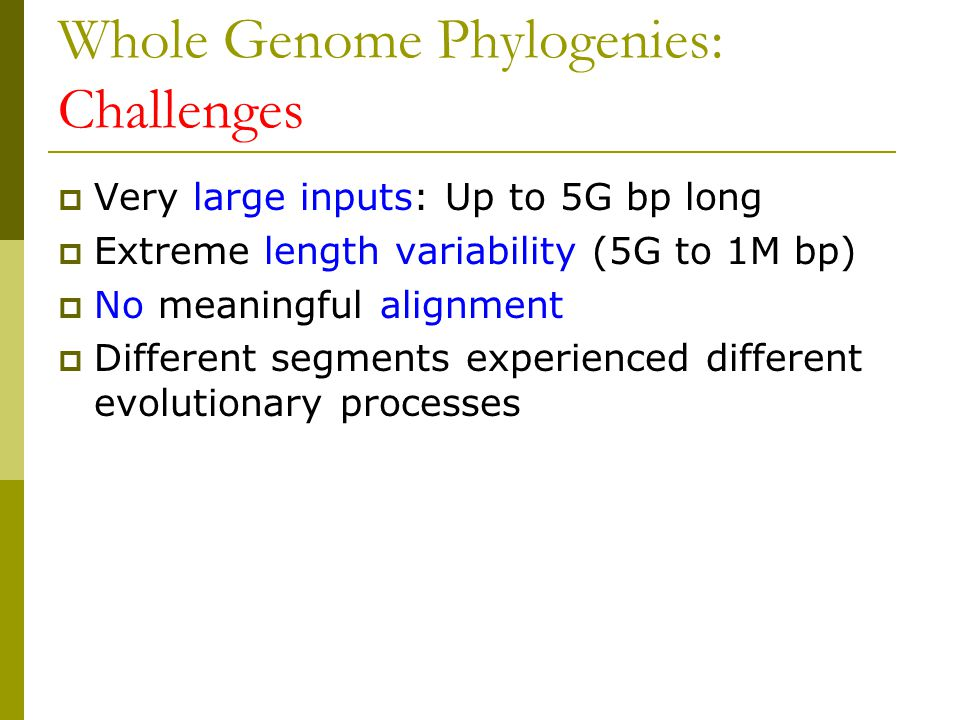 Whole Genome Phylogenies: Challenges  Very large inputs: Up to 5G bp long  Extreme length variability (5G to 1M bp)  No meaningful alignment  Different segments experienced different evolutionary processes
