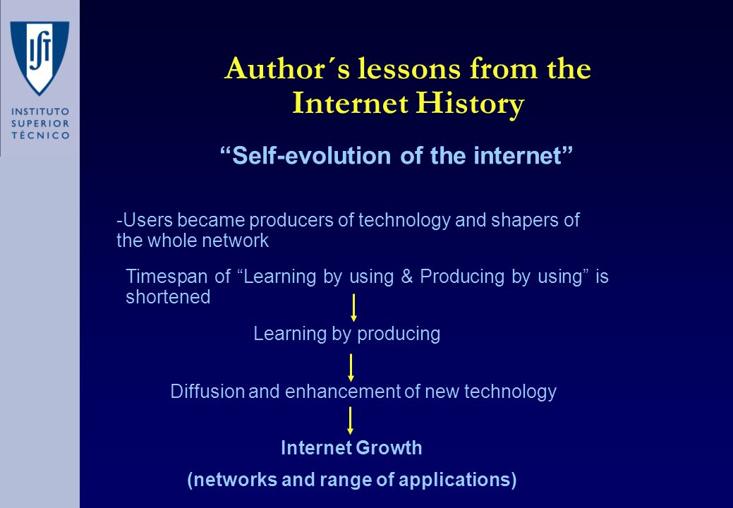 Author´s lessons from the Internet History Self-evolution of the internet -Users became producers of technology and shapers of the whole network Timespan of Learning by using & Producing by using is shortened Learning by producing Internet Growth (networks and range of applications) Diffusion and enhancement of new technology