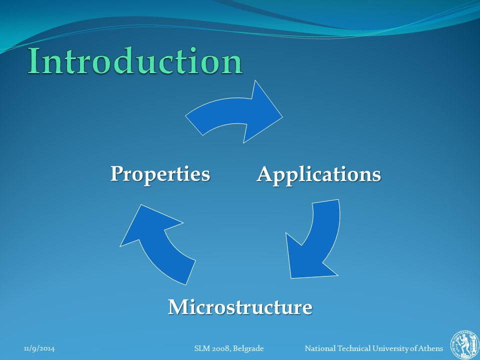 11/9/2014 SLM 2008, Belgrade National Technical University of Athens Properties Applications Microstructure