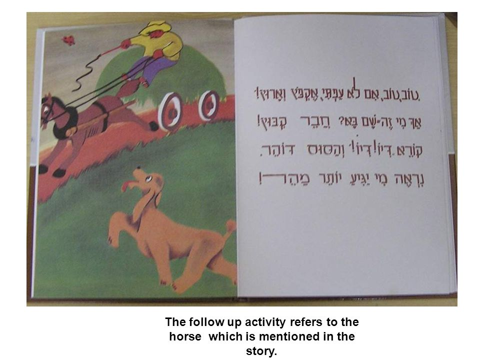 The follow up activity refers to the horse which is mentioned in the story.