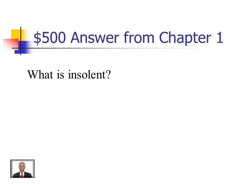 $500 Question from Chapter 1 Saucy, insolent, disrespectful