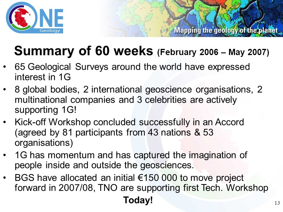 13 65 Geological Surveys around the world have expressed interest in 1G 8 global bodies, 2 international geoscience organisations, 2 multinational companies and 3 celebrities are actively supporting 1G.