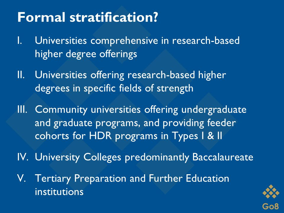 Formal stratification.