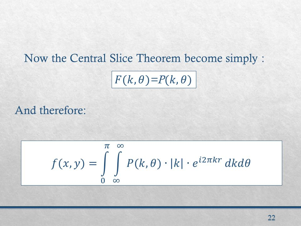 22 Now the Central Slice Theorem become simply : And therefore: