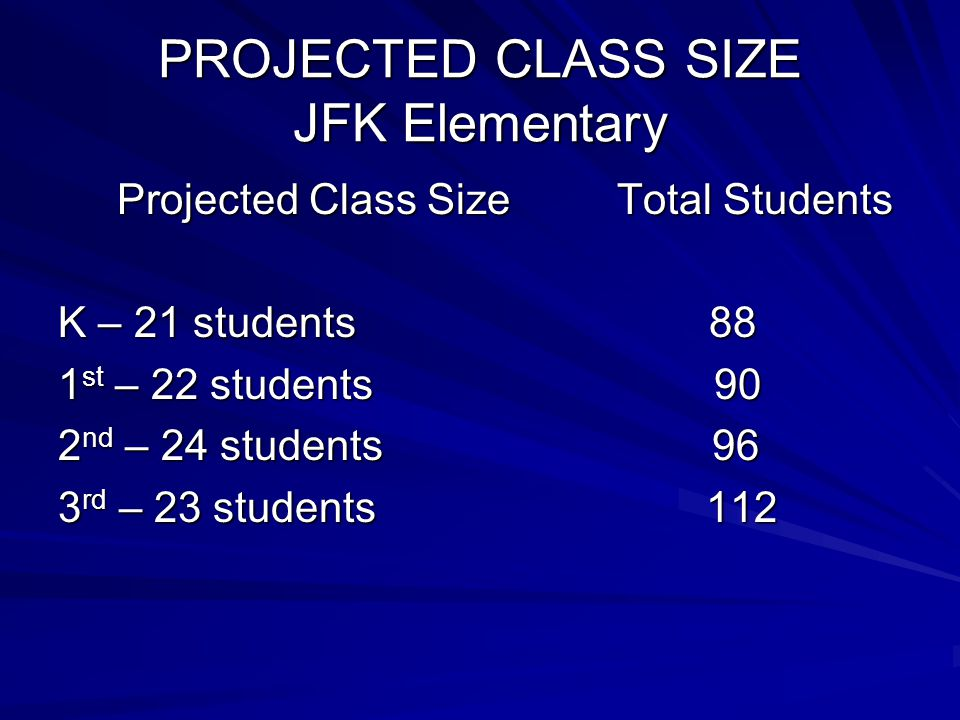 PROJECTED CLASS SIZE JFK Elementary Projected Class Size Total Students Projected Class Size Total Students K – 21 students 88 1 st – 22 students 90 2 nd – 24 students 96 3 rd – 23 students 112