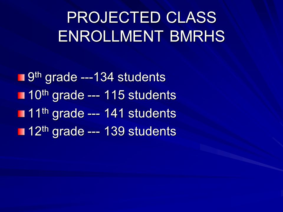 PROJECTED CLASS ENROLLMENT BMRHS 9 th grade ---134 students 10 th grade --- 115 students 11 th grade --- 141 students 12 th grade --- 139 students