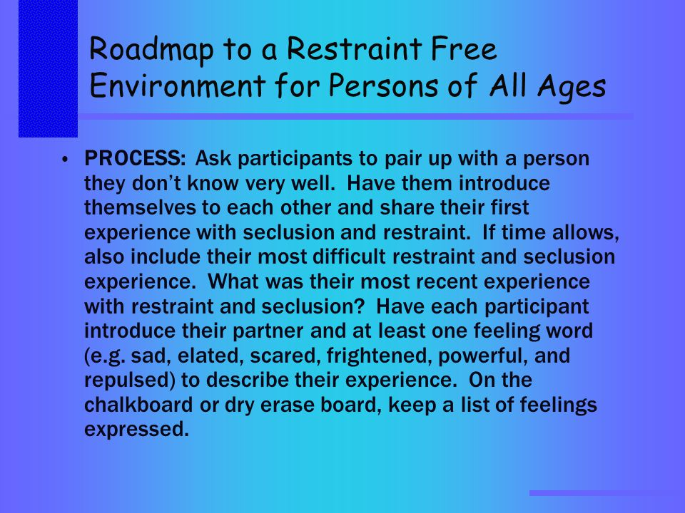 Roadmap to a Restraint Free Environment for Persons of All Ages PROCESS:Ask participants to pair up with a person they don't know very well.