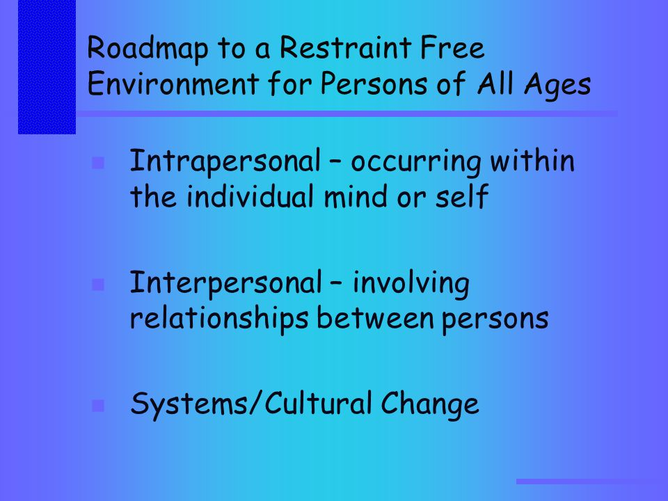 Roadmap to a Restraint Free Environment for Persons of All Ages Intrapersonal – occurring within the individual mind or self Interpersonal – involving relationships between persons Systems/Cultural Change