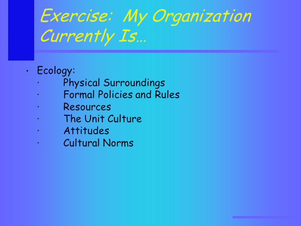Exercise: My Organization Currently Is… Ecology: · Physical Surroundings · Formal Policies and Rules · Resources · The Unit Culture · Attitudes · Cultural Norms