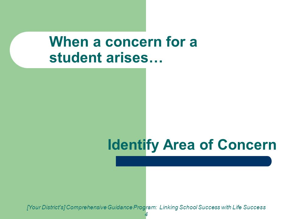 [Your District s] Comprehensive Guidance Program: Linking School Success with Life Success 4 When a concern for a student arises… Identify Area of Concern