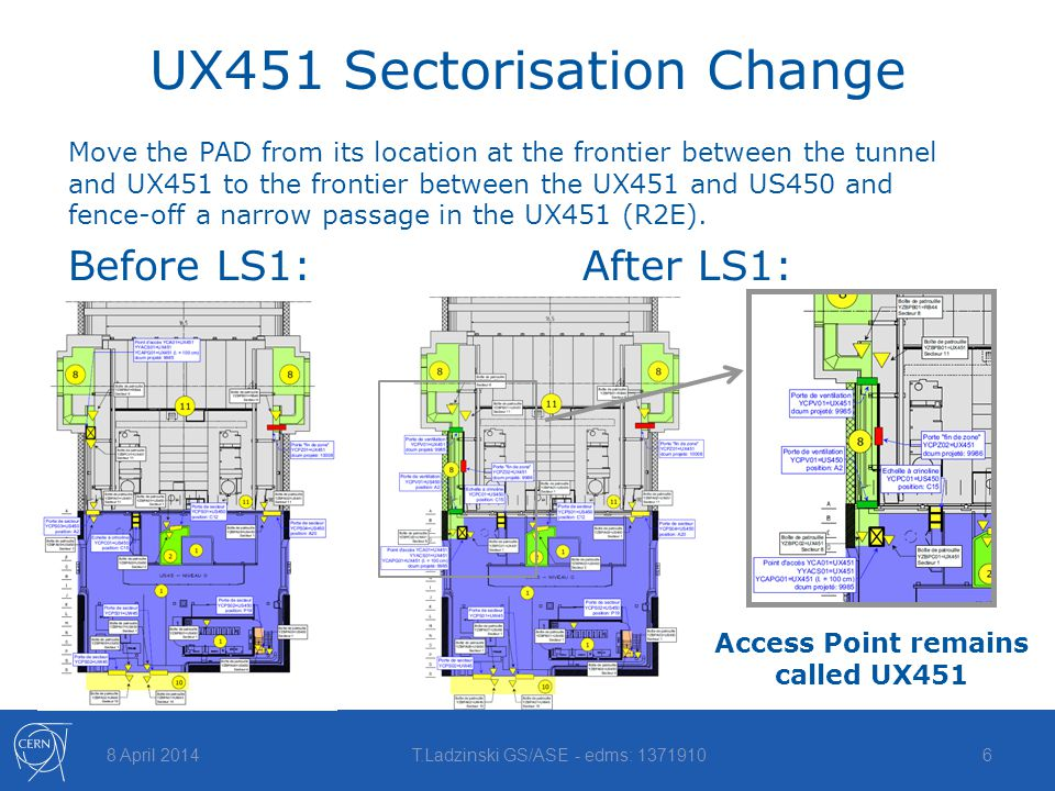 UX451 Sectorisation Change 8 April 2014T.Ladzinski GS/ASE - edms: 13719106 Move the PAD from its location at the frontier between the tunnel and UX451 to the frontier between the UX451 and US450 and fence-off a narrow passage in the UX451 (R2E).
