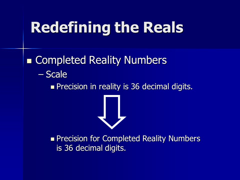 Completed Reality Numbers –S–S–S–Scale Precision in reality is 36 decimal digits.