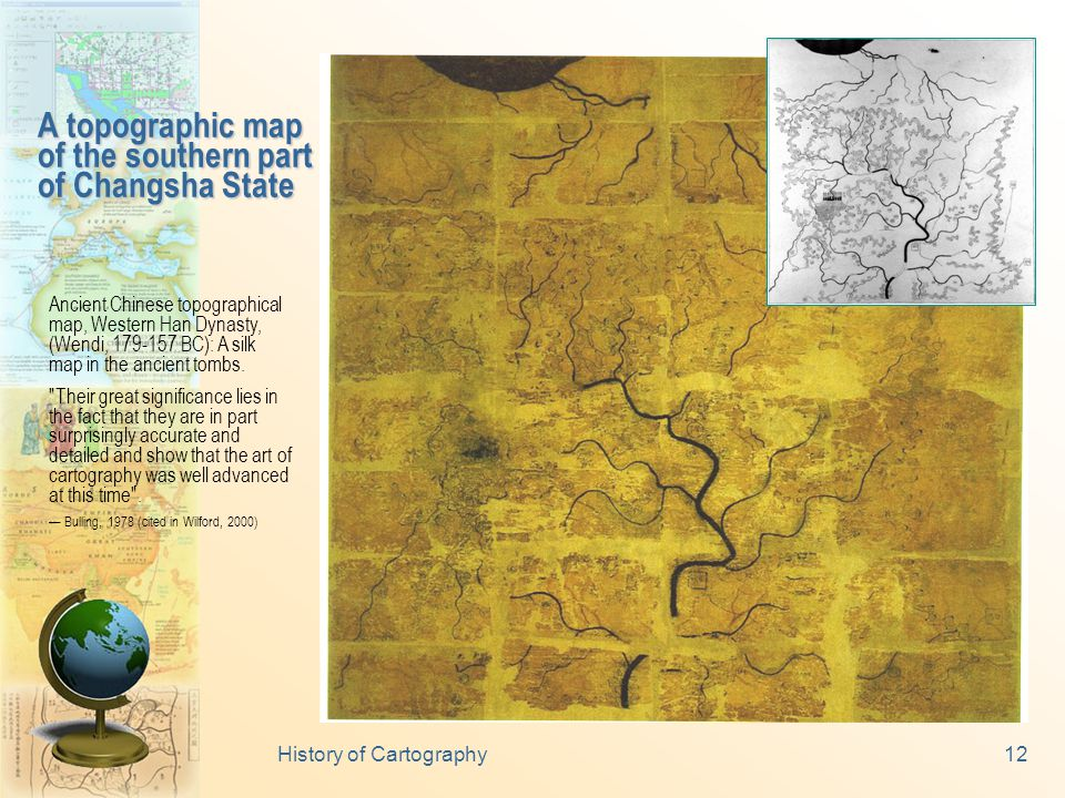 Seven maps, painted on four pinewood boards were unearthed in March 1986 from a tomb dated from 299 BC (Warring States Period, 475-221 BC).