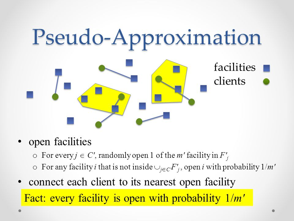 Pseudo-Approximation open facilities o For every j  C , randomly open 1 of the m facility in F j o For any facility i that is not inside  j  C F j, open i with probability 1/m connect each client to its nearest open facility facilities clients Fact: every facility is open with probability 1/m