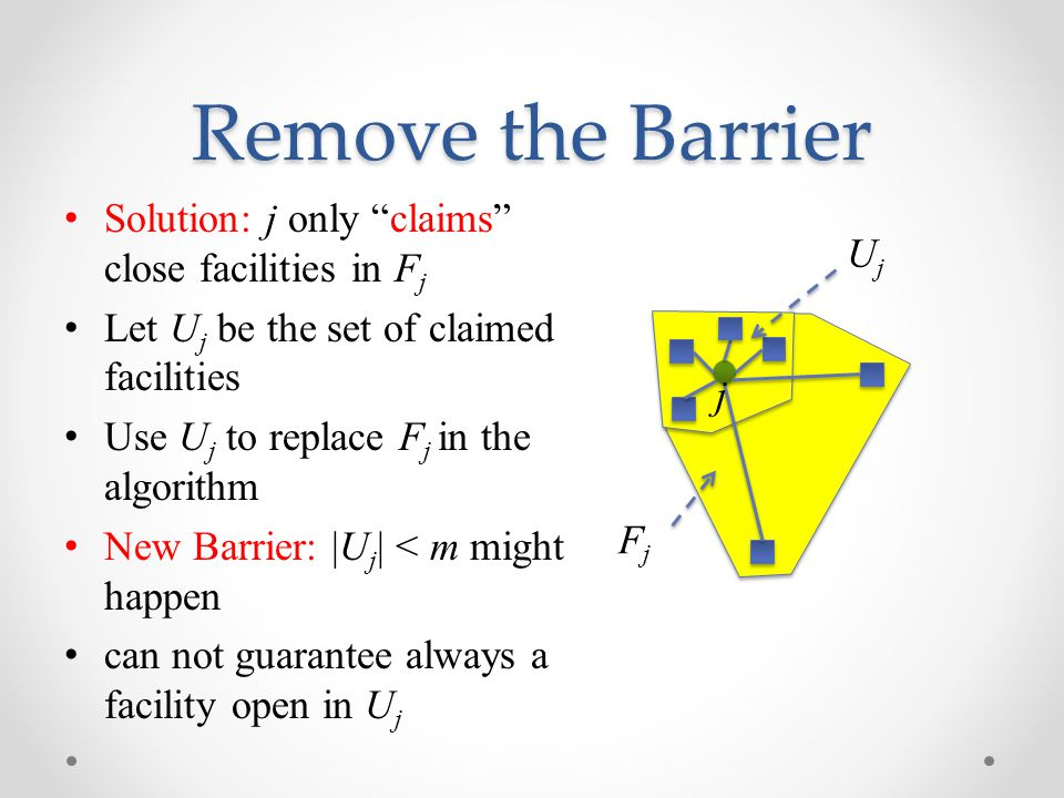 Remove the Barrier Solution: j only claims close facilities in F j Let U j be the set of claimed facilities Use U j to replace F j in the algorithm New Barrier: |U j | < m might happen can not guarantee always a facility open in U j FjFj UjUj j