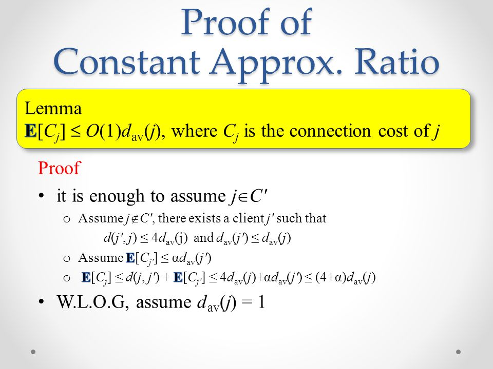 Proof of Constant Approx. Ratio