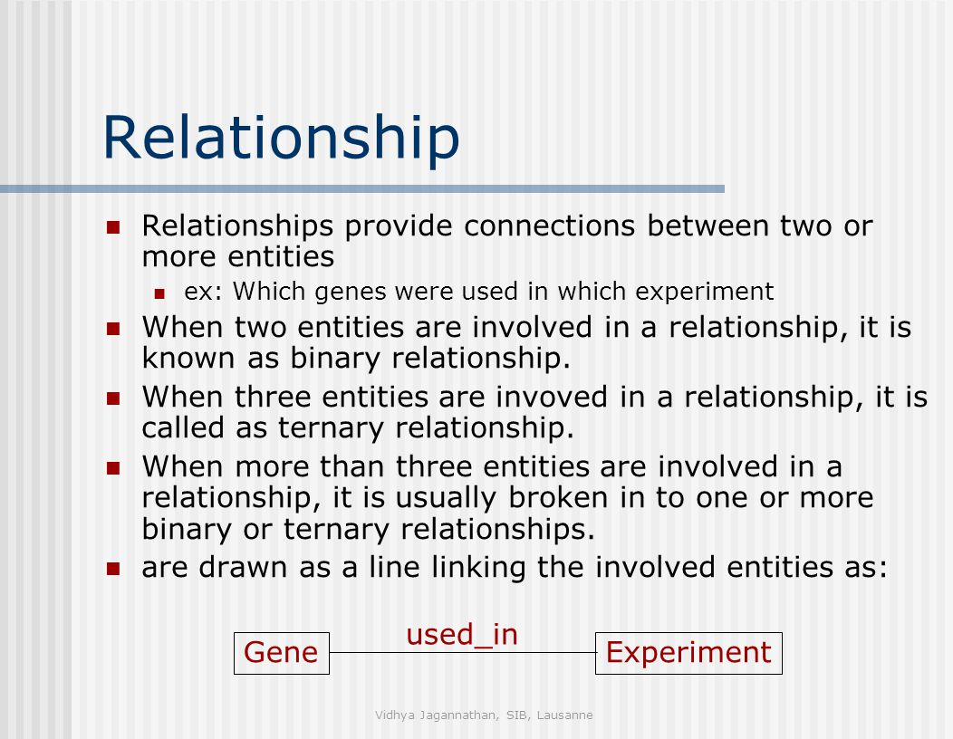 Vidhya Jagannathan, SIB, Lausanne Relationship Relationships provide connections between two or more entities ex: Which genes were used in which experiment When two entities are involved in a relationship, it is known as binary relationship.