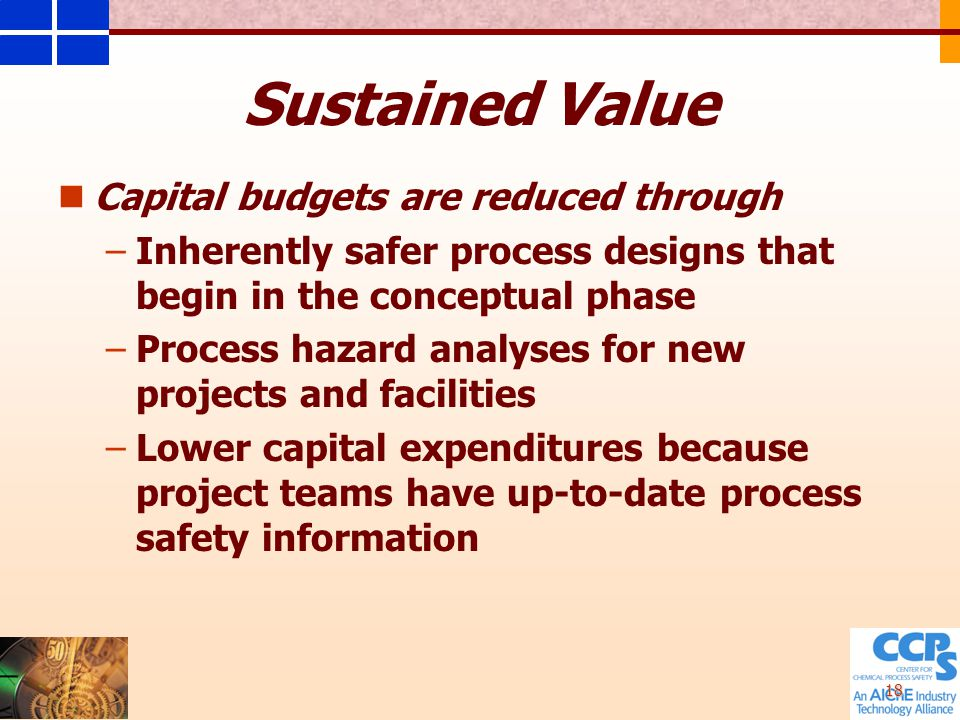 18 Capital budgets are reduced through – –Inherently safer process designs that begin in the conceptual phase – –Process hazard analyses for new projects and facilities – –Lower capital expenditures because project teams have up-to-date process safety information Sustained Value