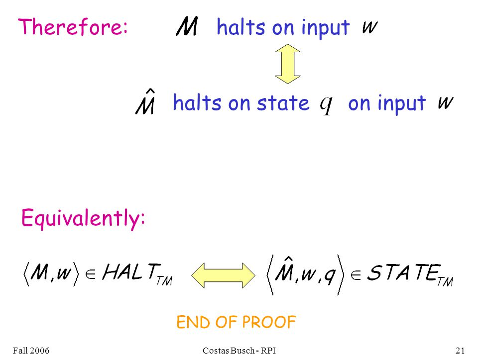 Fall 2006Costas Busch - RPI21 halts on state on input halts on inputTherefore: Equivalently: END OF PROOF