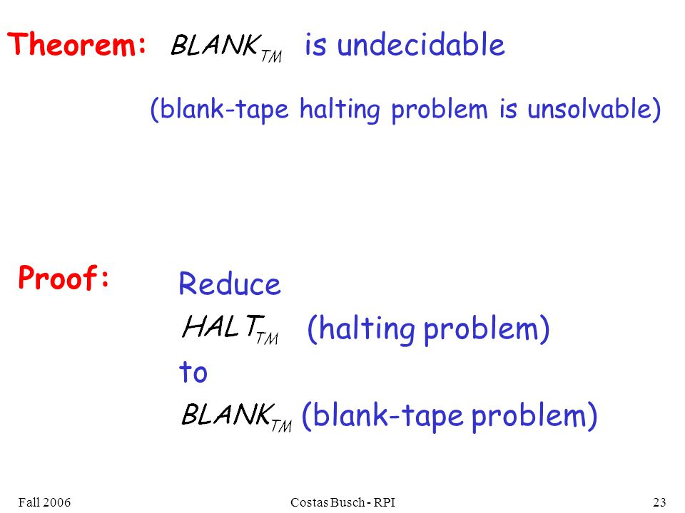 Fall 2006Costas Busch - RPI23 Theorem: (blank-tape halting problem is unsolvable) Proof: Reduce (halting problem) to (blank-tape problem) is undecidable