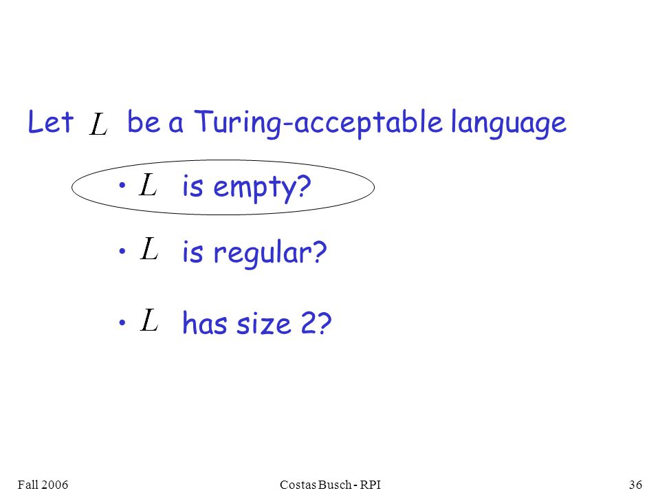 Fall 2006Costas Busch - RPI36 is empty is regular has size 2 Let be a Turing-acceptable language