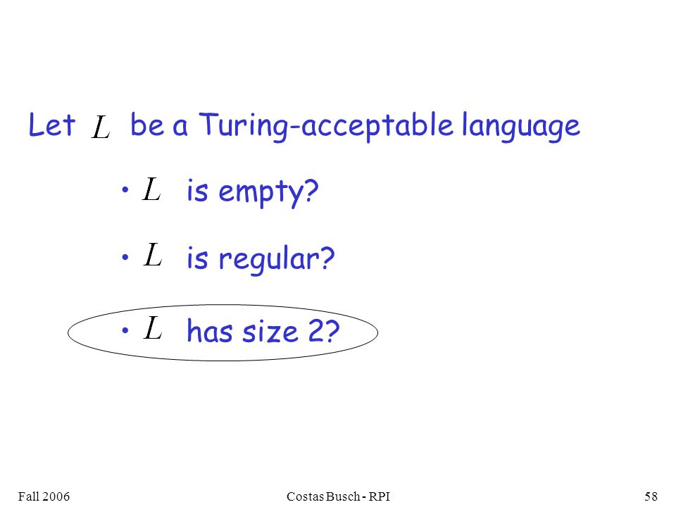 Fall 2006Costas Busch - RPI58 is empty is regular has size 2 Let be a Turing-acceptable language