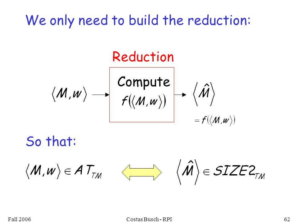 Fall 2006Costas Busch - RPI62 Compute Reduction We only need to build the reduction: So that: