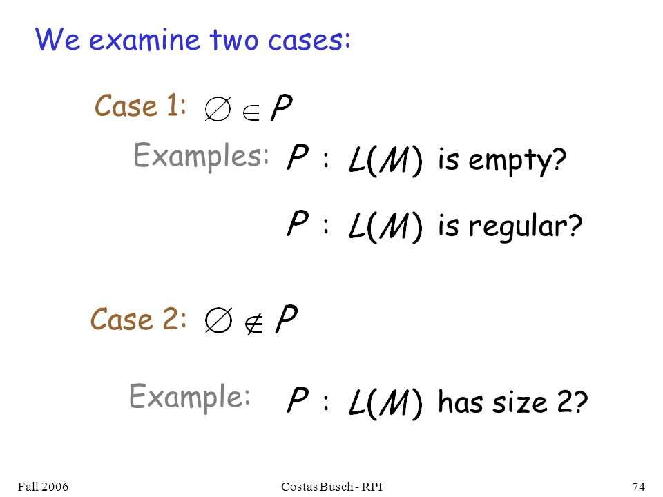 Fall 2006Costas Busch - RPI74 We examine two cases: Case 1: Case 2: Examples: : is empty.