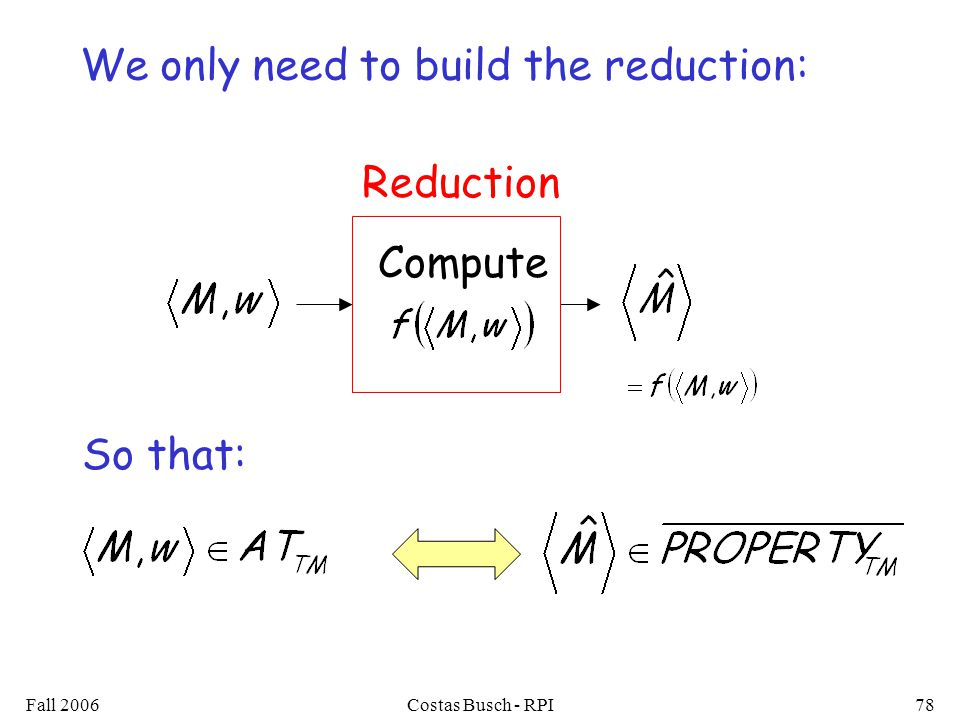 Fall 2006Costas Busch - RPI78 Compute Reduction We only need to build the reduction: So that: