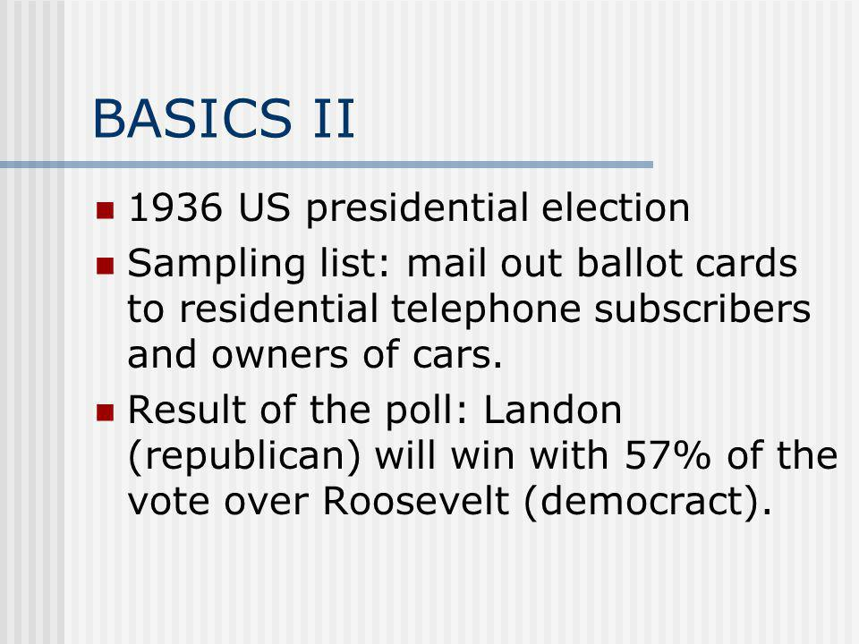 BASICS II 1936 US presidential election Sampling list: mail out ballot cards to residential telephone subscribers and owners of cars.