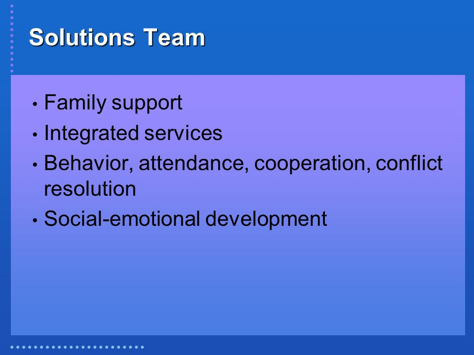Solutions Team Family support Integrated services Behavior, attendance, cooperation, conflict resolution Social-emotional development