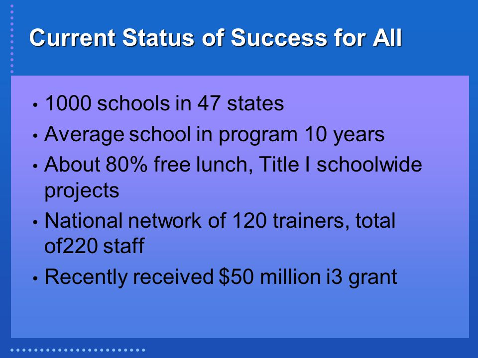 Current Status of Success for All 1000 schools in 47 states Average school in program 10 years About 80% free lunch, Title I schoolwide projects National network of 120 trainers, total of220 staff Recently received $50 million i3 grant