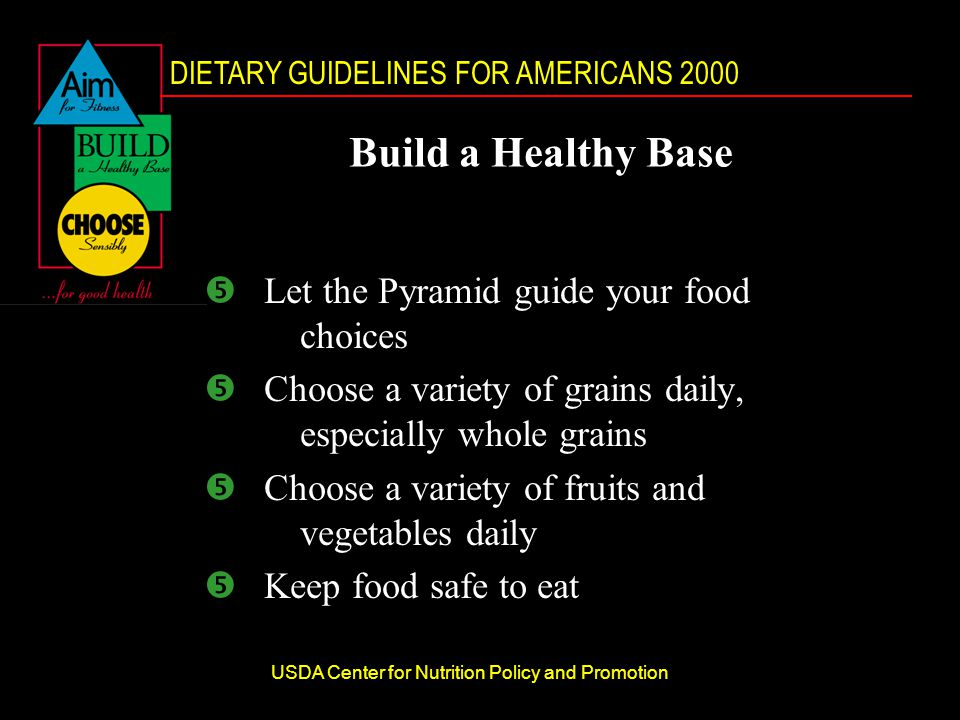 DIETARY GUIDELINES FOR AMERICANS 2000 USDA Center for Nutrition Policy and Promotion Build a Healthy Base Let the Pyramid guide your food choices Choose a variety of grains daily, especially whole grains Choose a variety of fruits and vegetables daily Keep food safe to eat