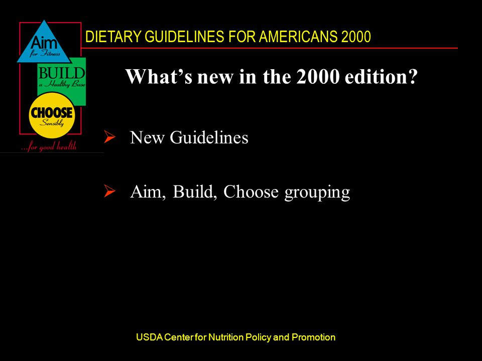 DIETARY GUIDELINES FOR AMERICANS 2000 USDA Center for Nutrition Policy and Promotion What's new in the 2000 edition.