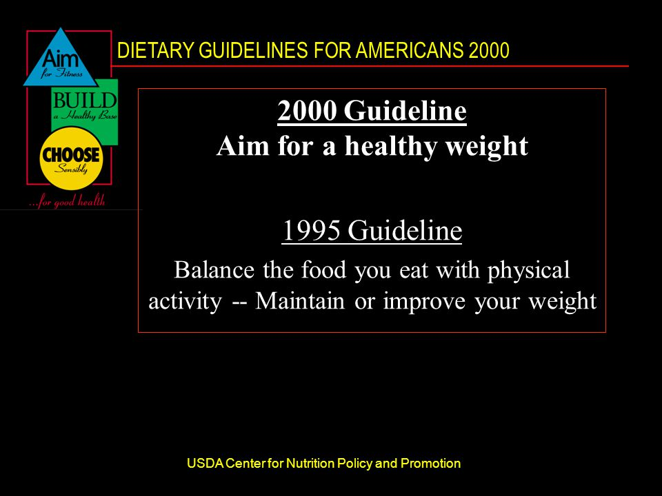 DIETARY GUIDELINES FOR AMERICANS 2000 USDA Center for Nutrition Policy and Promotion 2000 Guideline Aim for a healthy weight 1995 Guideline Balance the food you eat with physical activity -- Maintain or improve your weight