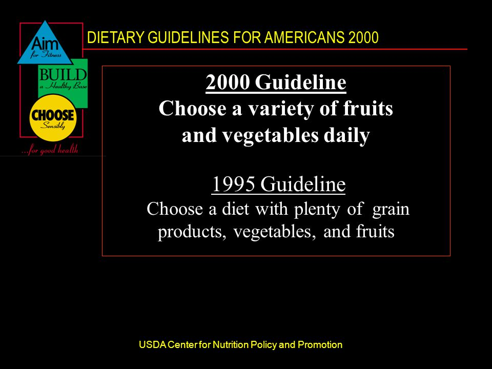 DIETARY GUIDELINES FOR AMERICANS 2000 USDA Center for Nutrition Policy and Promotion 2000 Guideline Choose a variety of fruits and vegetables daily 1995 Guideline Choose a diet with plenty of grain products, vegetables, and fruits
