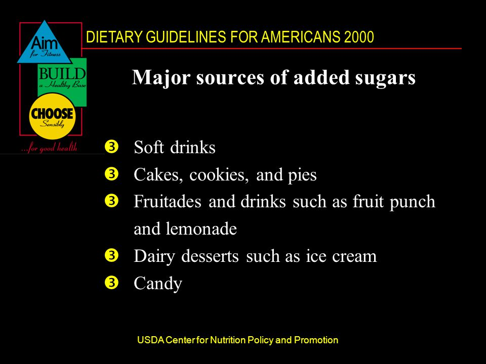 DIETARY GUIDELINES FOR AMERICANS 2000 USDA Center for Nutrition Policy and Promotion Major sources of added sugars ŽSoft drinks ŽCakes, cookies, and pies ŽFruitades and drinks such as fruit punch and lemonade ŽDairy desserts such as ice cream ŽCandy