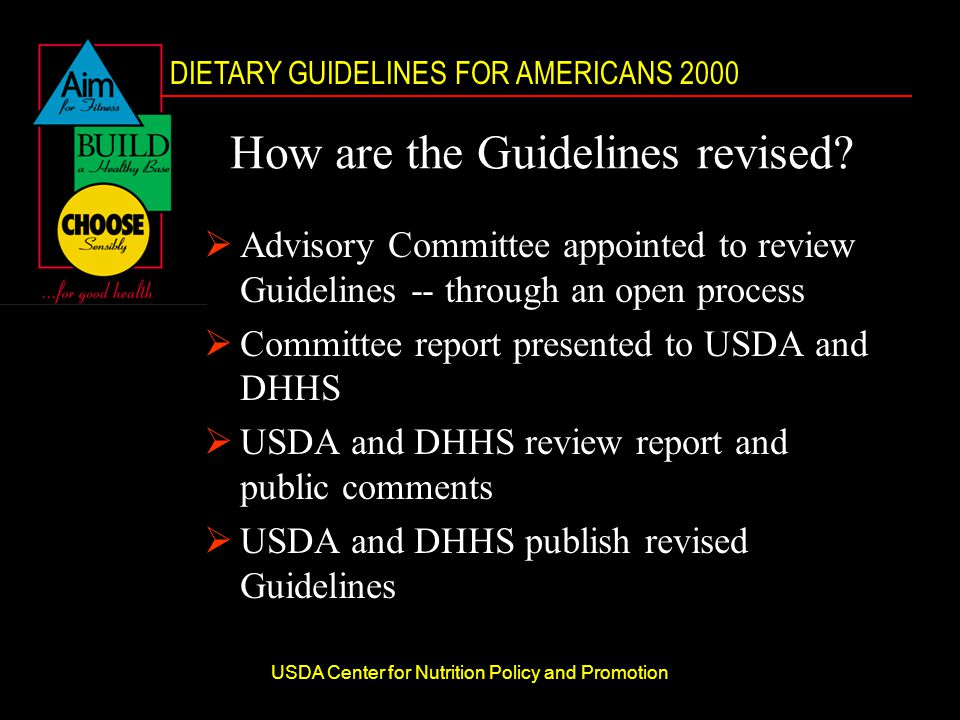 DIETARY GUIDELINES FOR AMERICANS 2000 USDA Center for Nutrition Policy and Promotion How are the Guidelines revised.