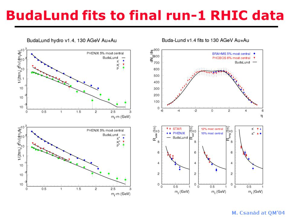 M. Csanád at QM'04 BudaLund fits to final run-1 RHIC data