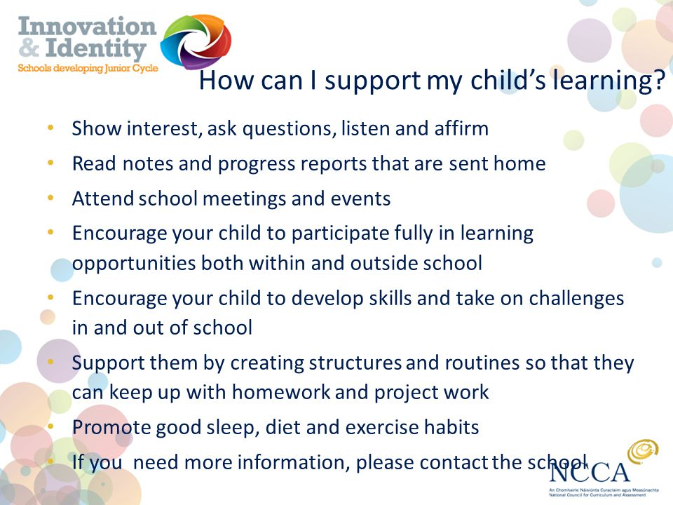 How can I support my child's learning.