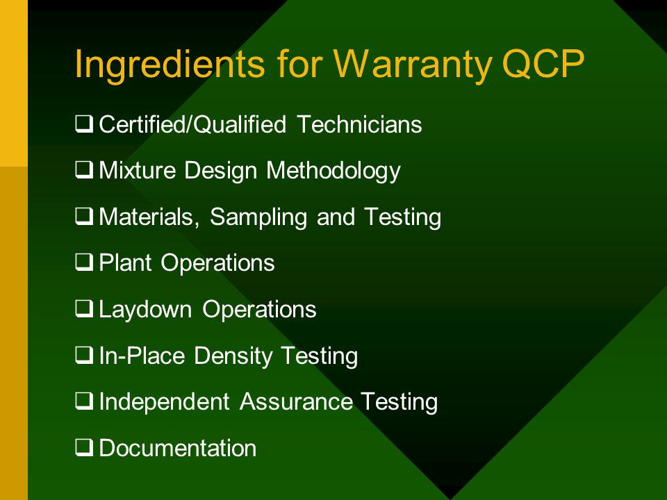 Ingredients for Warranty QCP  Certified/Qualified Technicians  Mixture Design Methodology  Materials, Sampling and Testing  Plant Operations  Laydown Operations  In-Place Density Testing  Independent Assurance Testing  Documentation