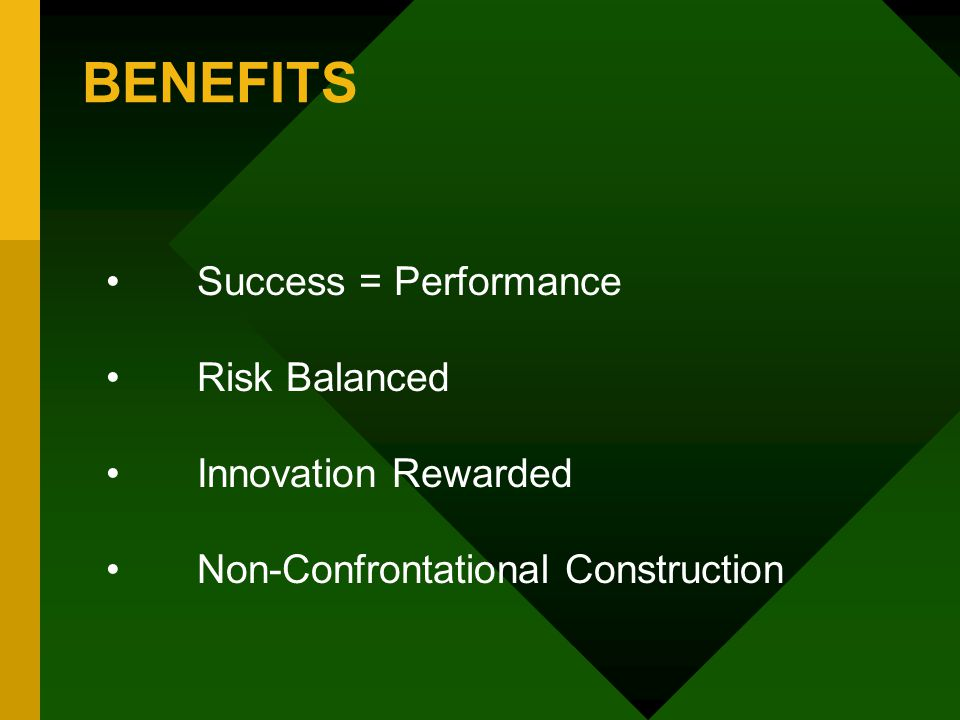 BENEFITS Success = Performance Risk Balanced Innovation Rewarded Non-Confrontational Construction