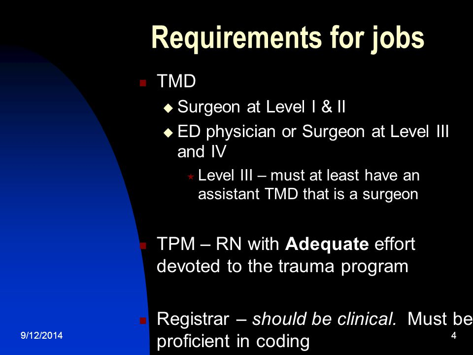 Requirements for jobs TMD  Surgeon at Level I & II  ED physician or Surgeon at Level III and IV  Level III – must at least have an assistant TMD that is a surgeon TPM – RN with Adequate effort devoted to the trauma program Registrar – should be clinical.