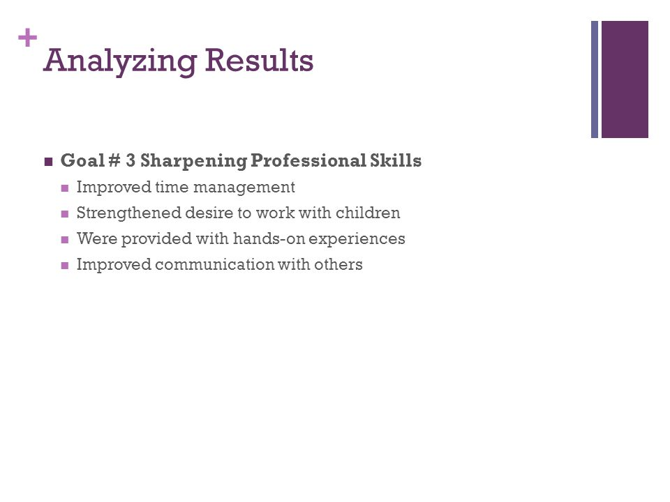+ Goal # 3 Sharpening Professional Skills Improved time management Strengthened desire to work with children Were provided with hands-on experiences Improved communication with others