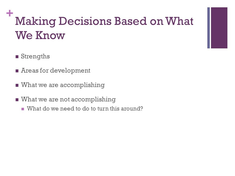 + Making Decisions Based on What We Know Strengths Areas for development What we are accomplishing What we are not accomplishing What do we need to do to turn this around
