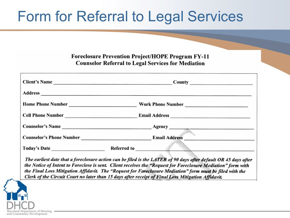 Form for Referral to Legal Services